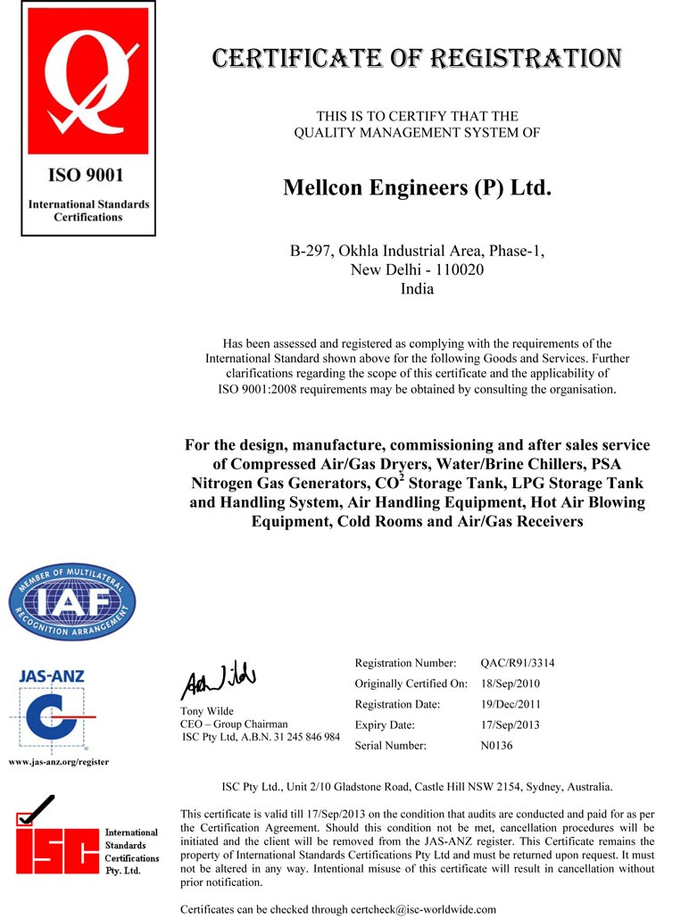 Mellcon Engineers An Iso 9001 Certified Manufactureres Of Air Dryers